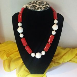 Vintage Red & White Necklace